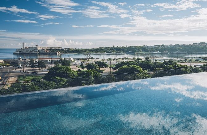 The view from the pool of the Iberostar Grand Packard hotel in Havana Cuba