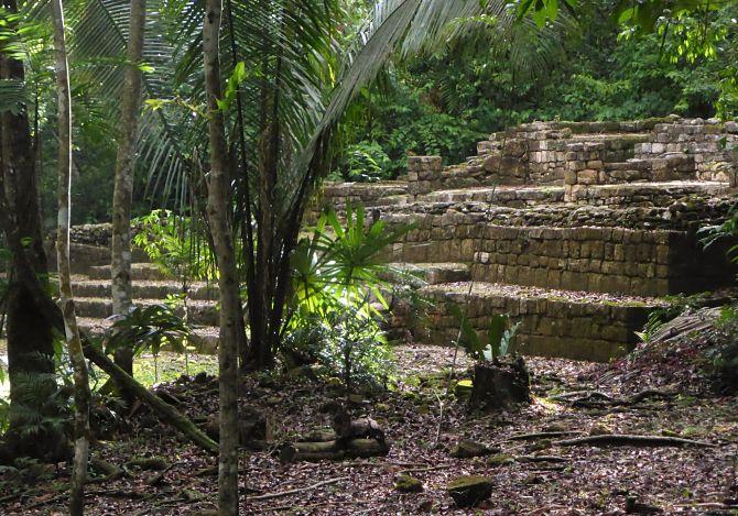 The ruins of a Mayan pyramid at Aguateca, Guatemala