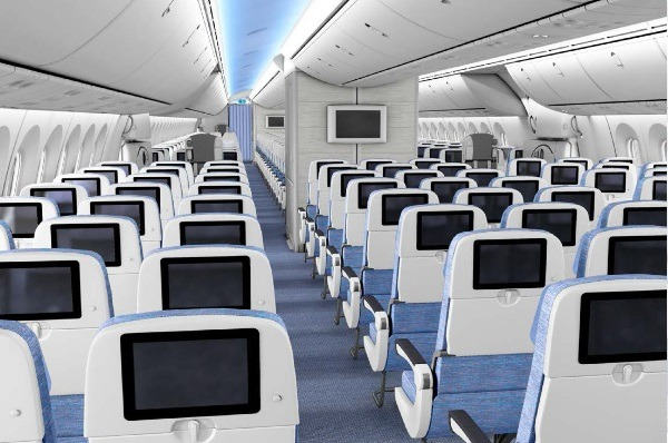 The economy cabin of an Air Europa Dreamliner