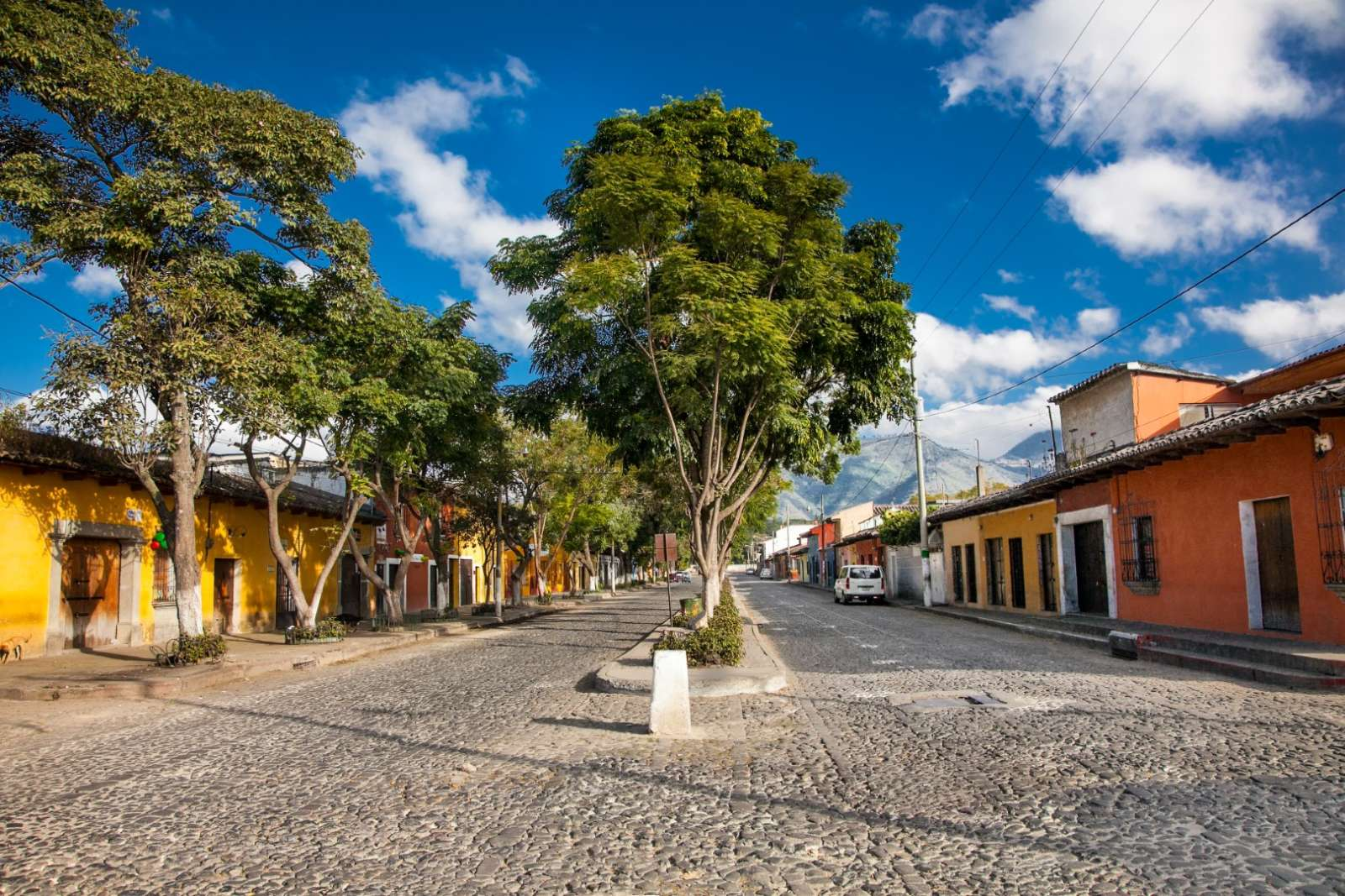 A broad colonial street in Antigua, Guatemala