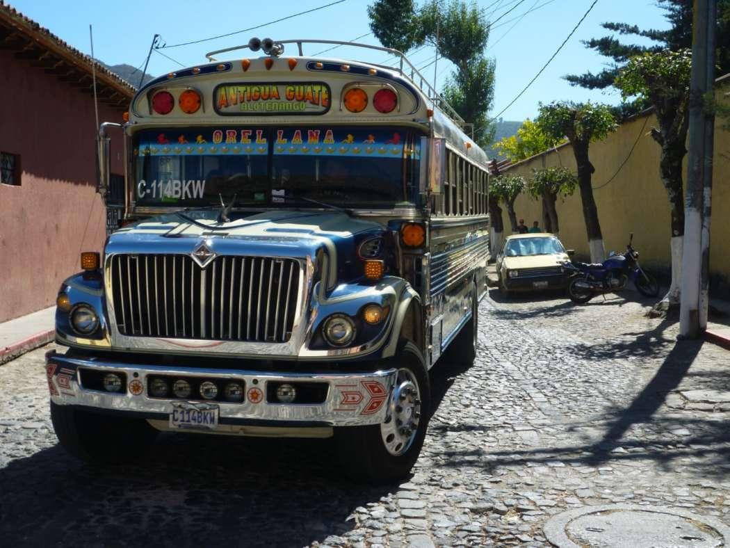 Chicken bus in Antigua, Guatemala