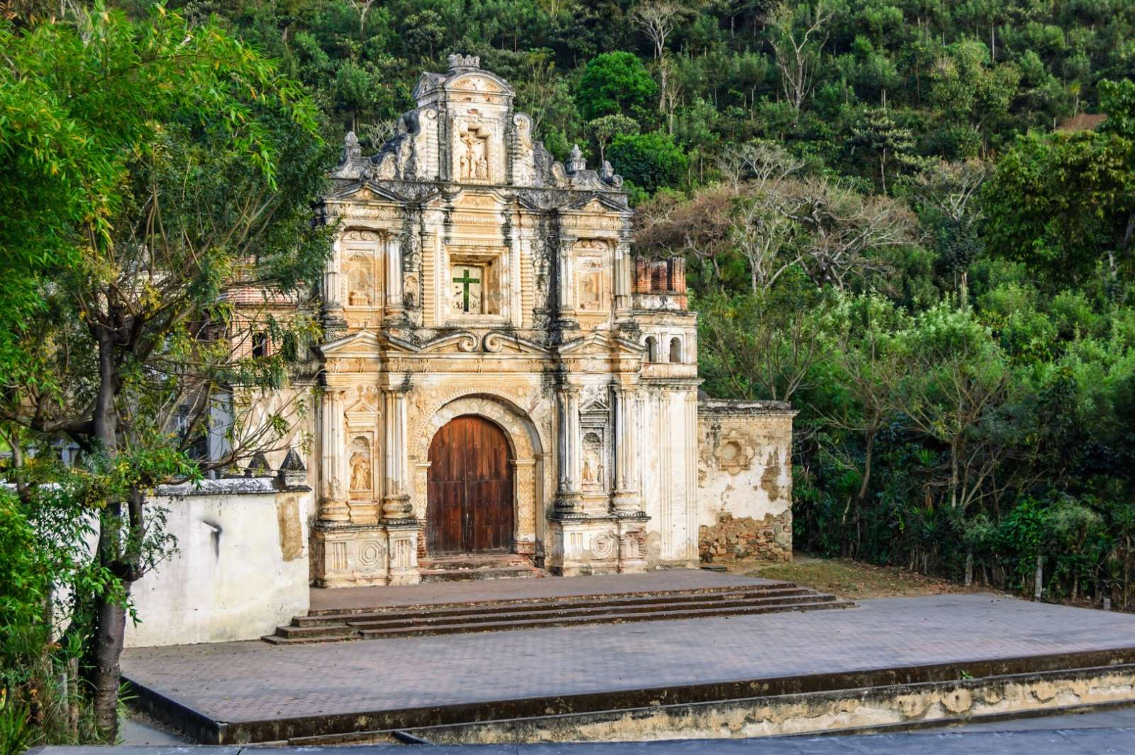 Ruins of Ermita De La Santa Cruz in Antigua, Guatemala