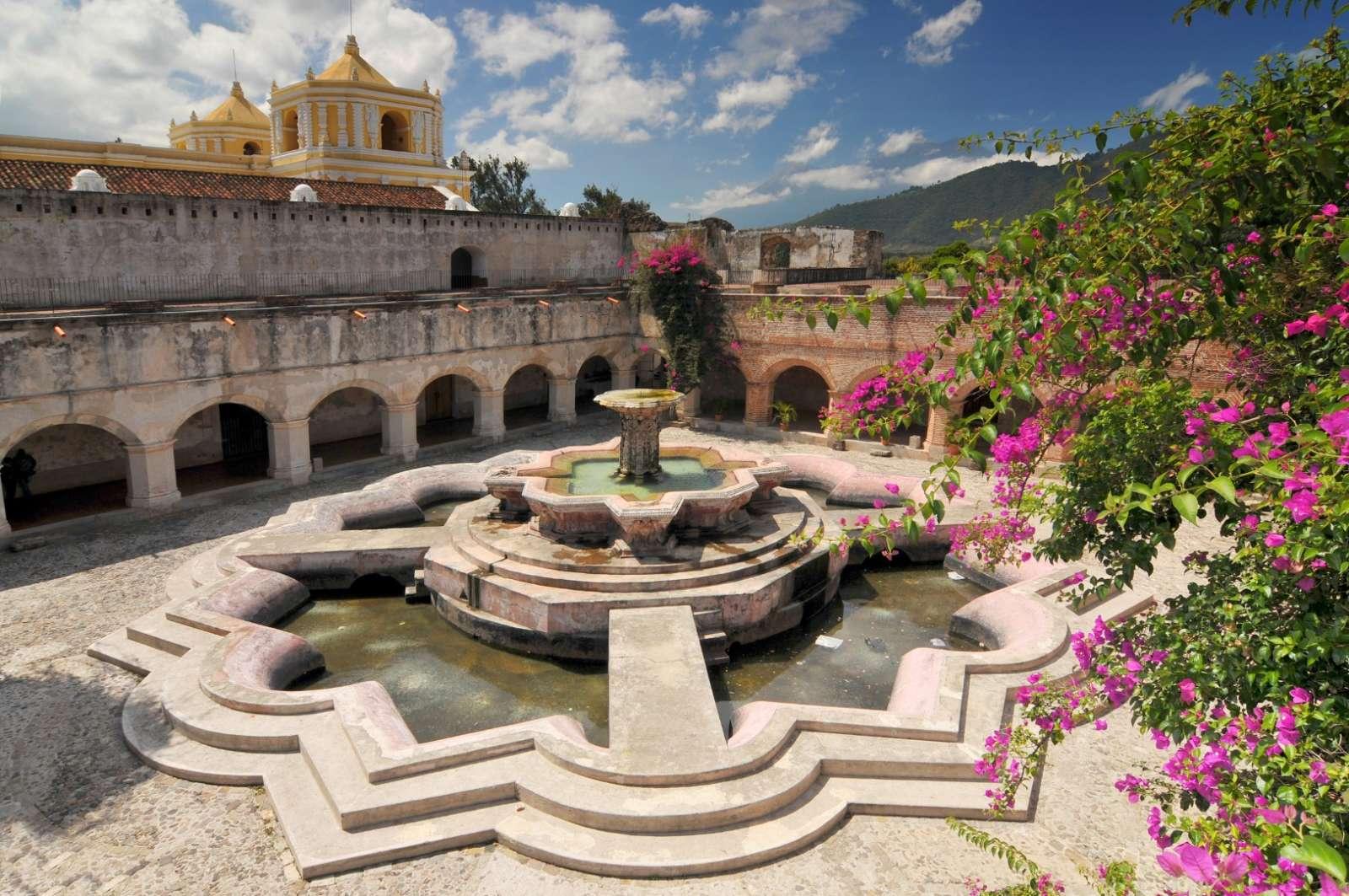 Courtyard at La Merced church in Antigua, Guatemala