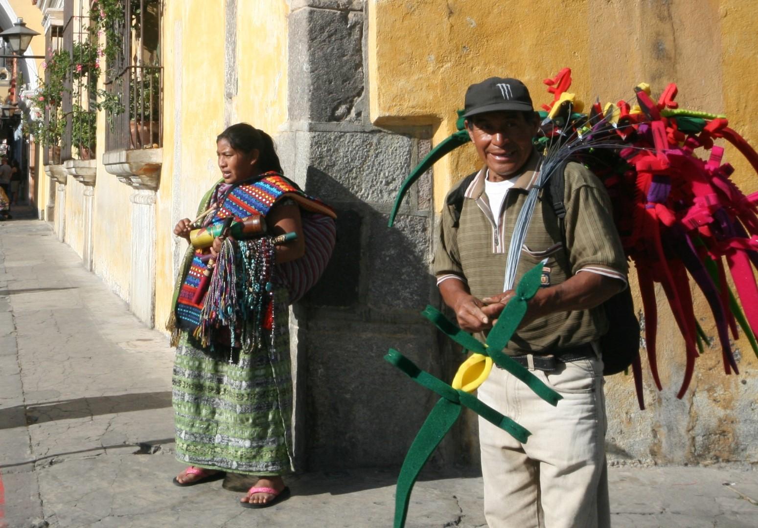Street hawkers in Antigua, Guatemala