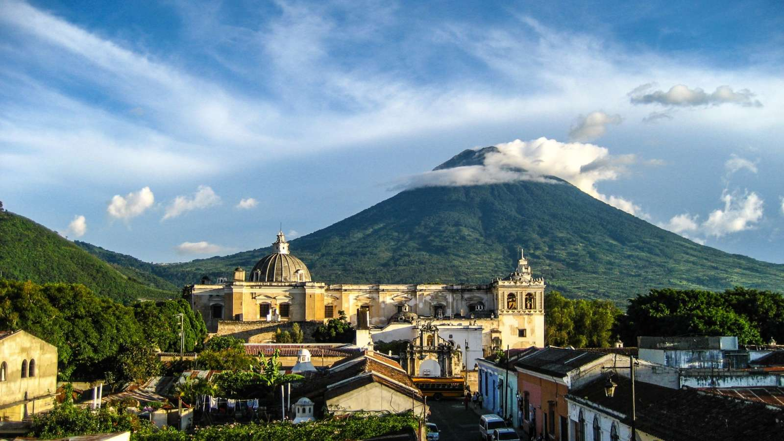 View over rooftops of Antigua, Guatemala