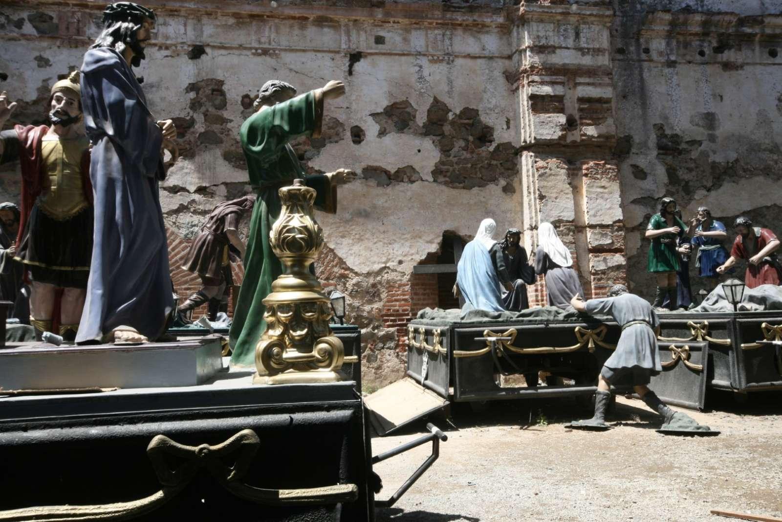 Procession statues for Semana Santa in Antigua, Guatemala