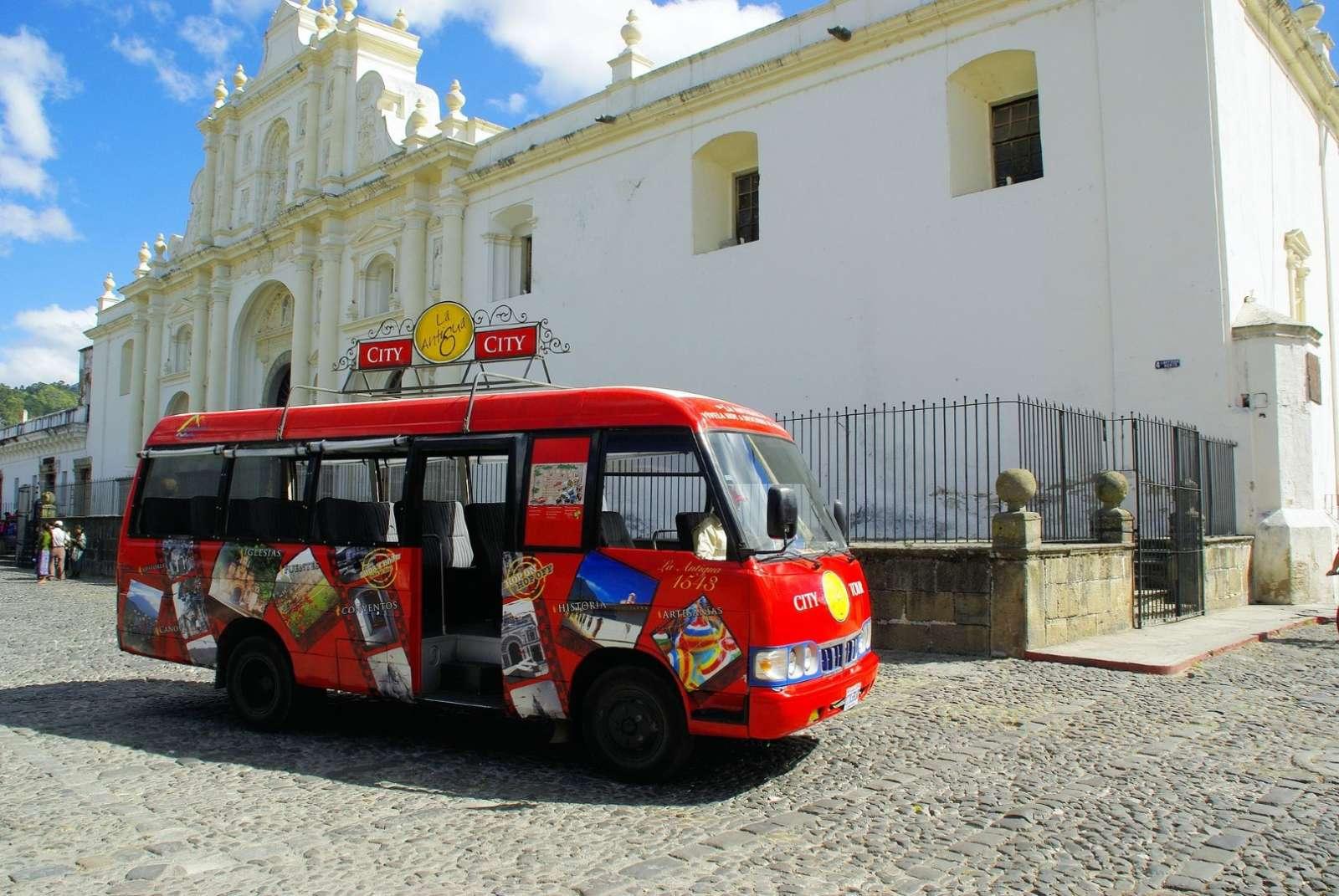 Tour bus in Antigua, Guatemala