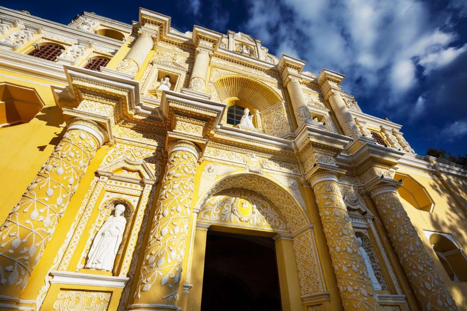 Yellow church facade in Antigua, Guatemala