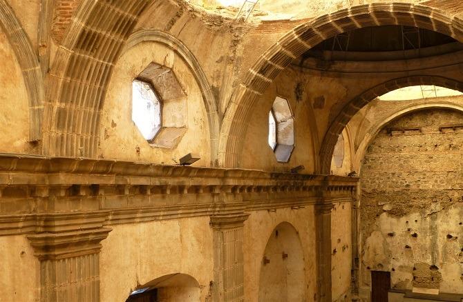 The ruined interior of a church in Antigua, Guatemala