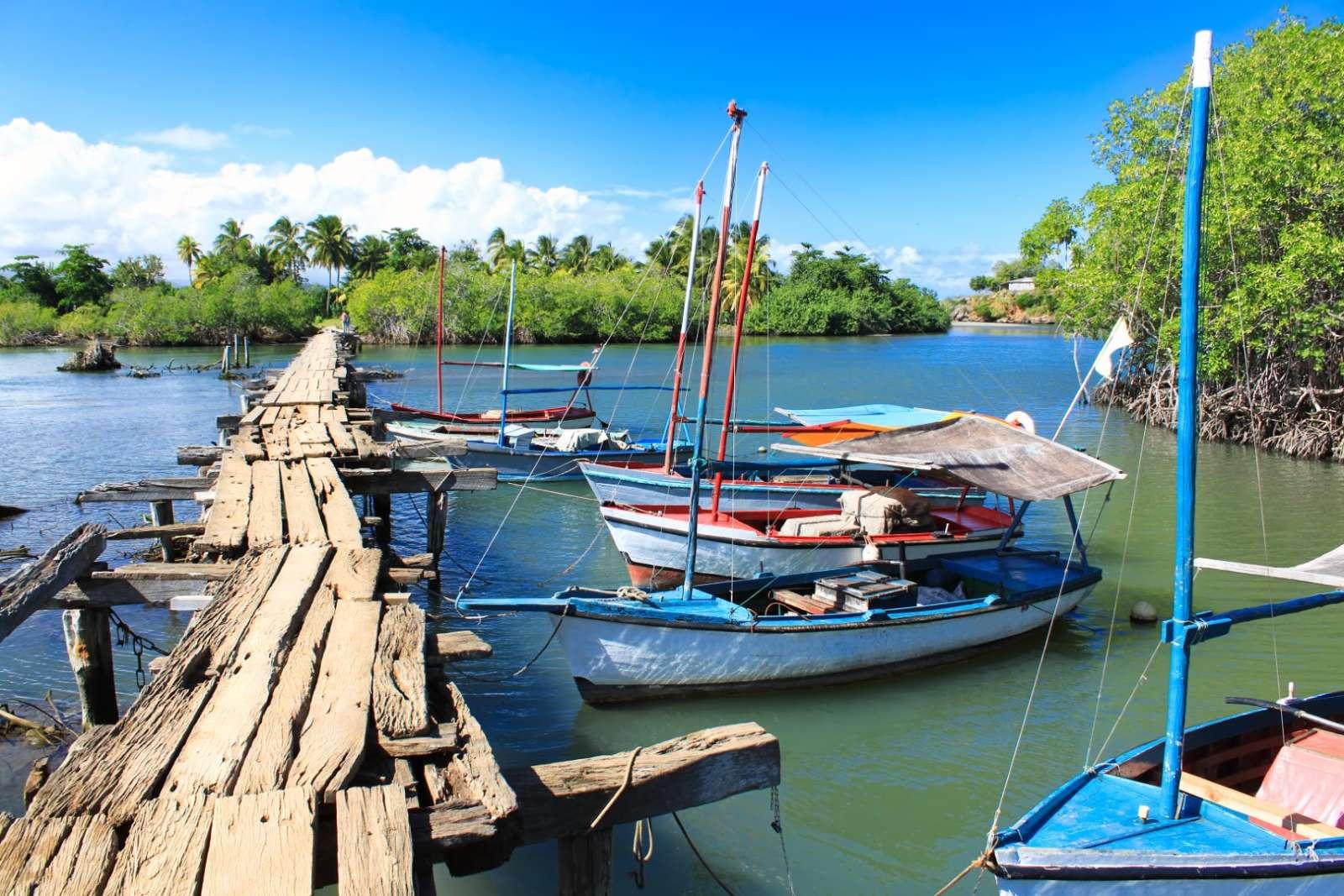 Small fishing boats near Baracoa in Cuba