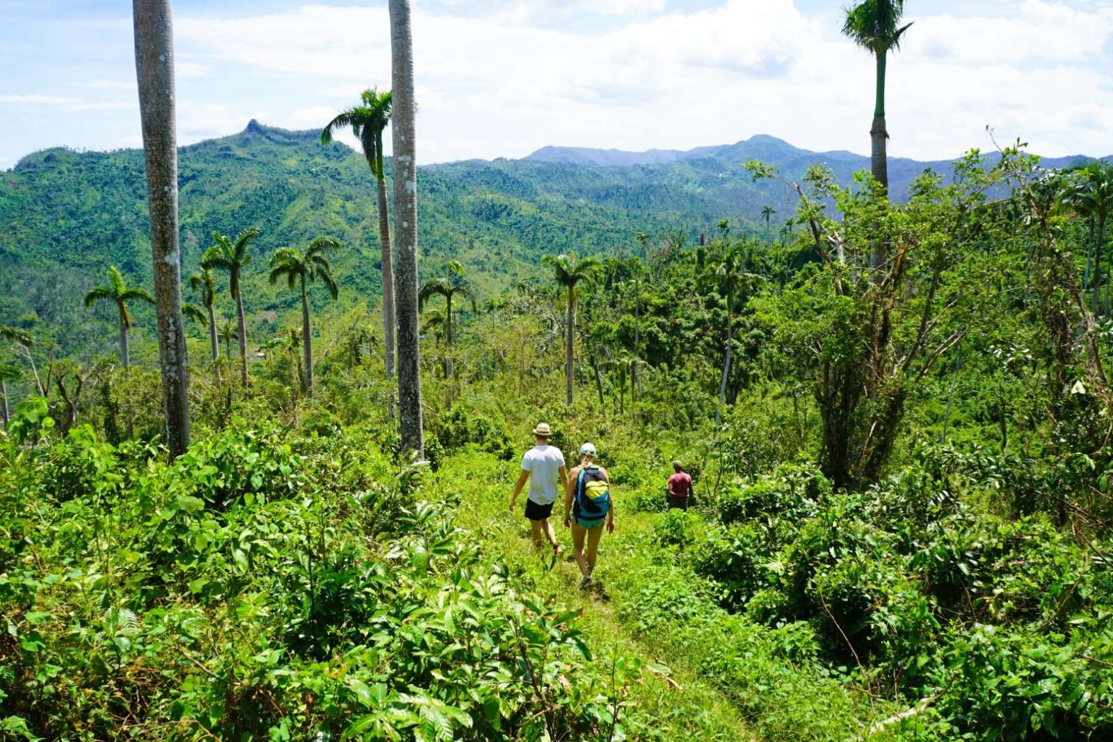 Couple hiking in the Baracoa countryside