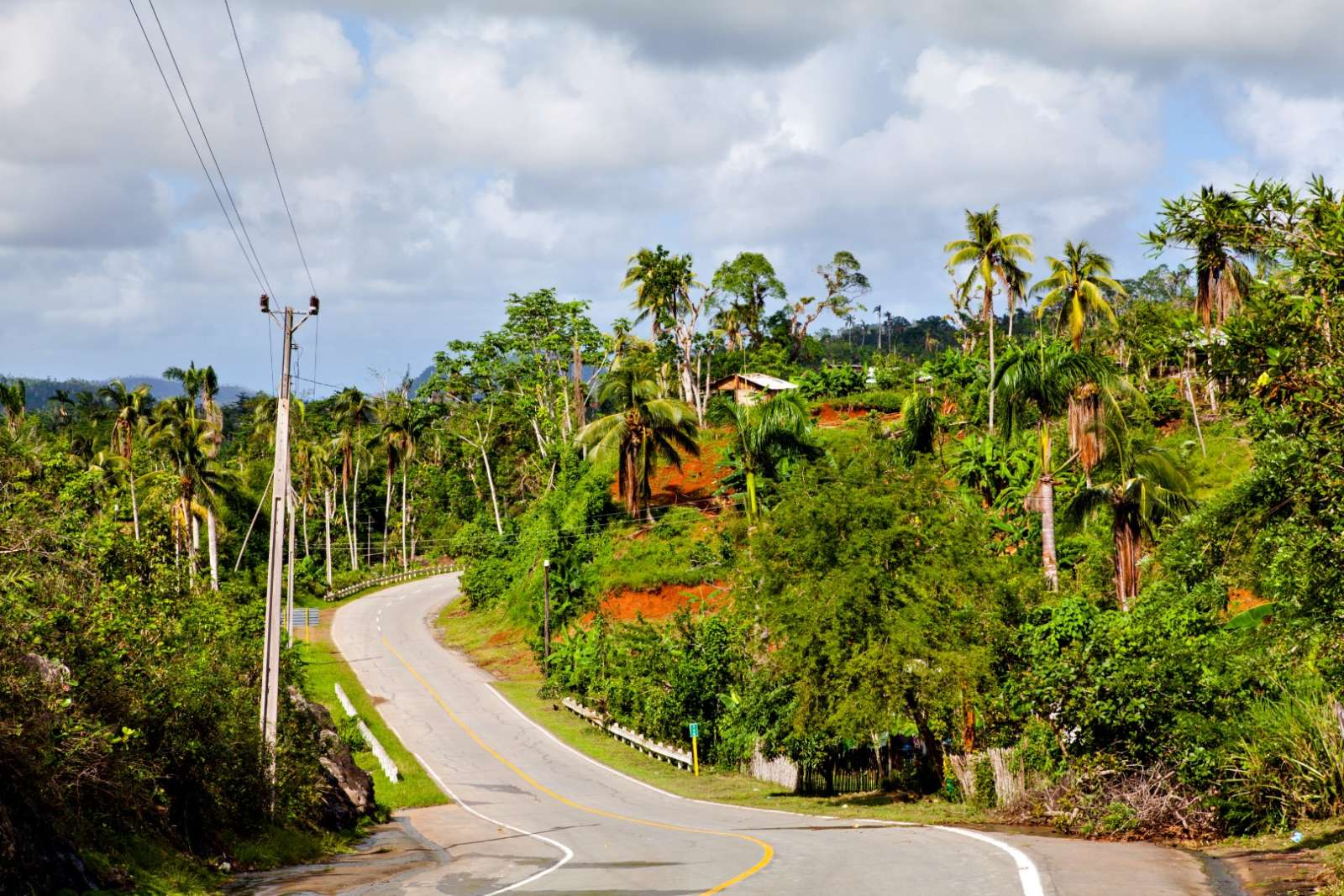 An empty, winding road near Baracoa in Cuba