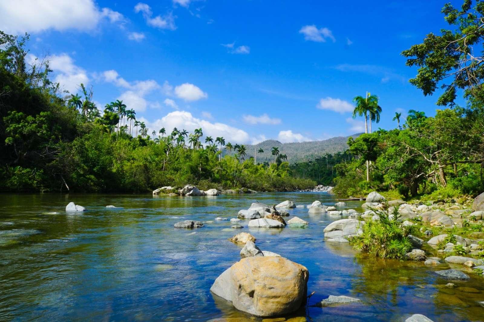 Large stones in a river near Baracoa Cuba