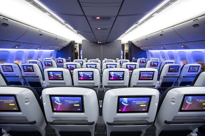 New British Airways World Traveller Plus cabin from Gatwick
