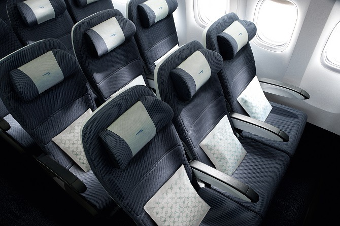 The economy seating on a British Airways A380