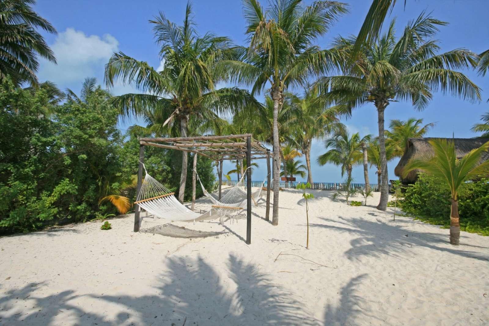 Beach hammocks at Cabanas Maria Del Mar, Isla Mujeres