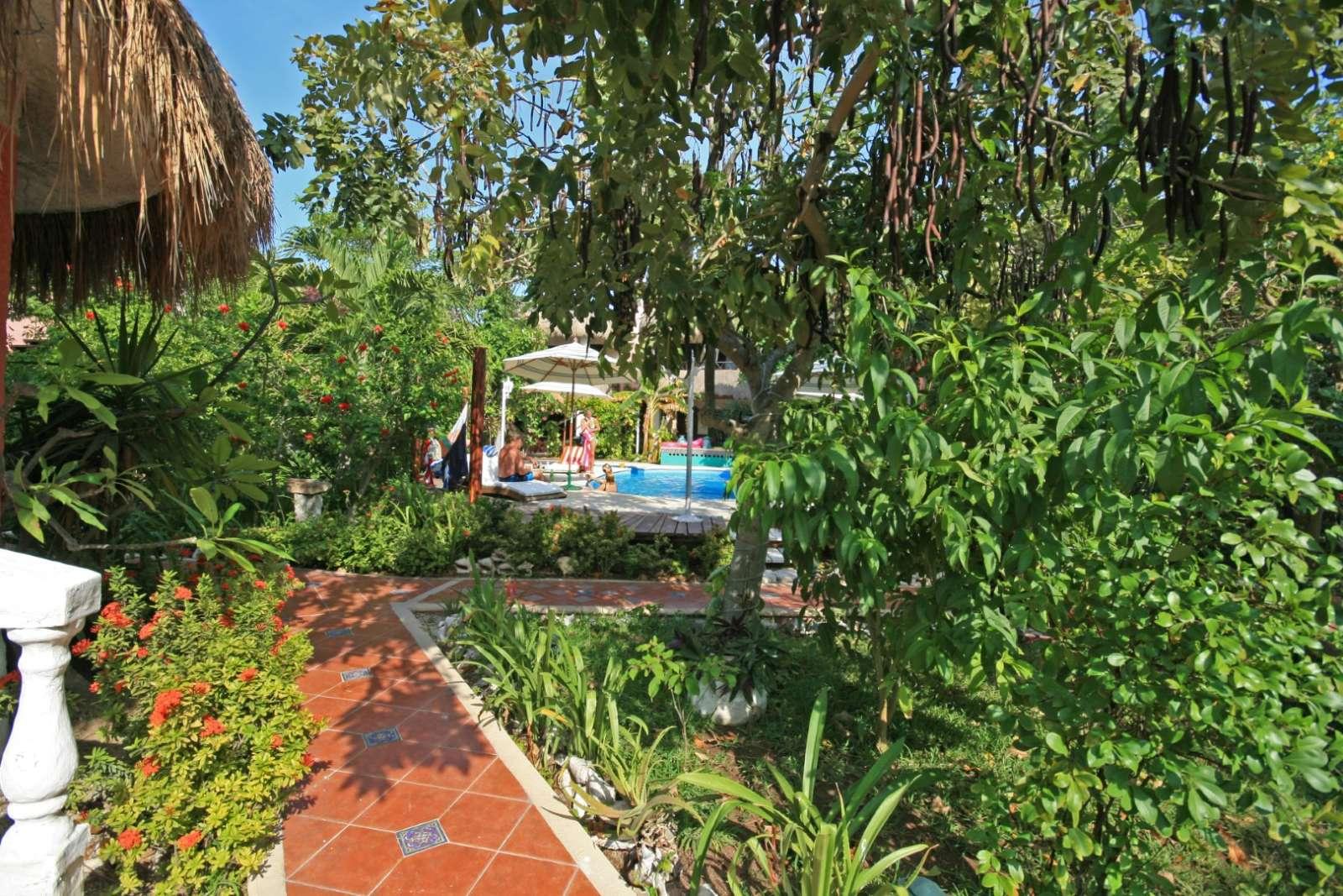 Gardens and pool at Cabanas Maria Del Mar, Isla Mujeres