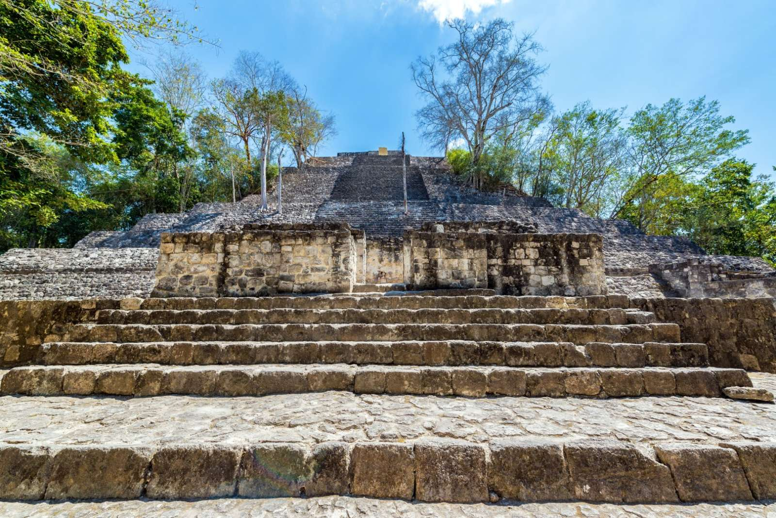 Base of pyramid in Calakmul in Mexico