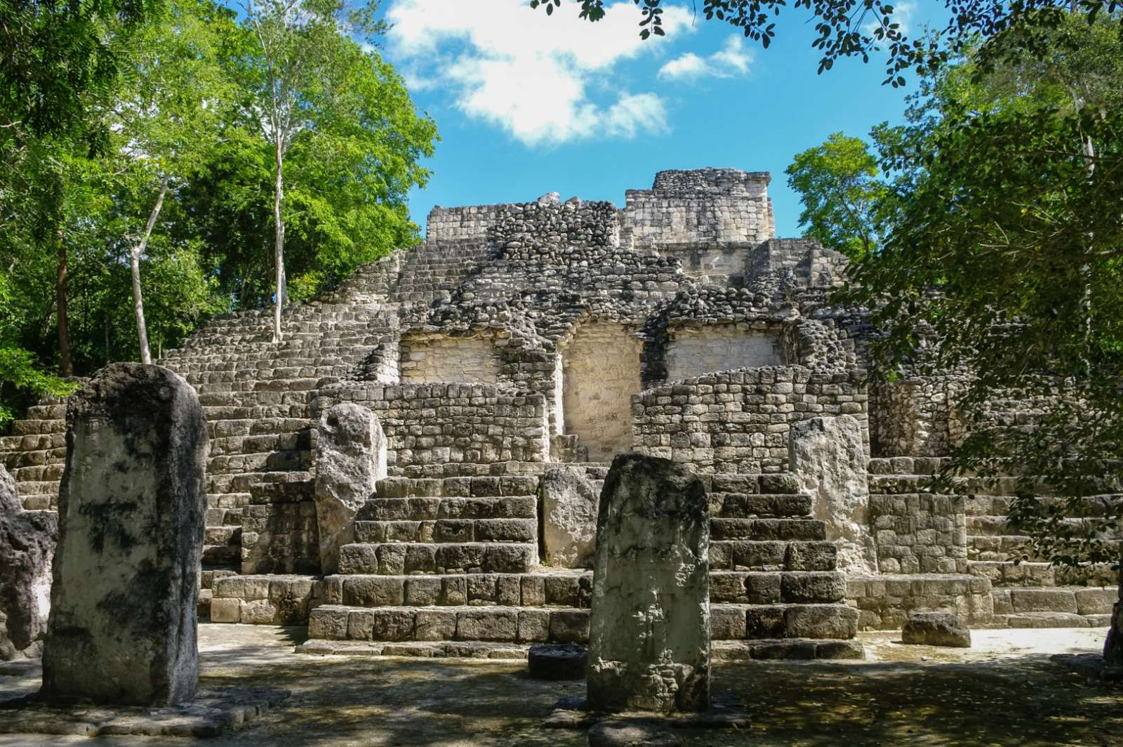 Steps and stelae at Calakmul in Mexico