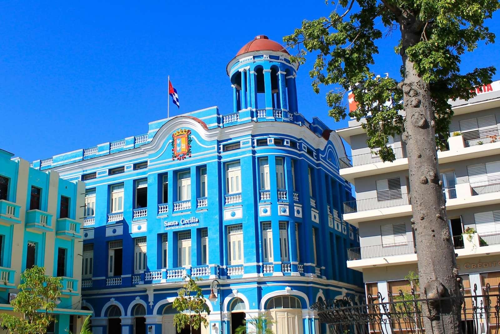 The Santa Cecilia blue building in Camaguey, Cuba