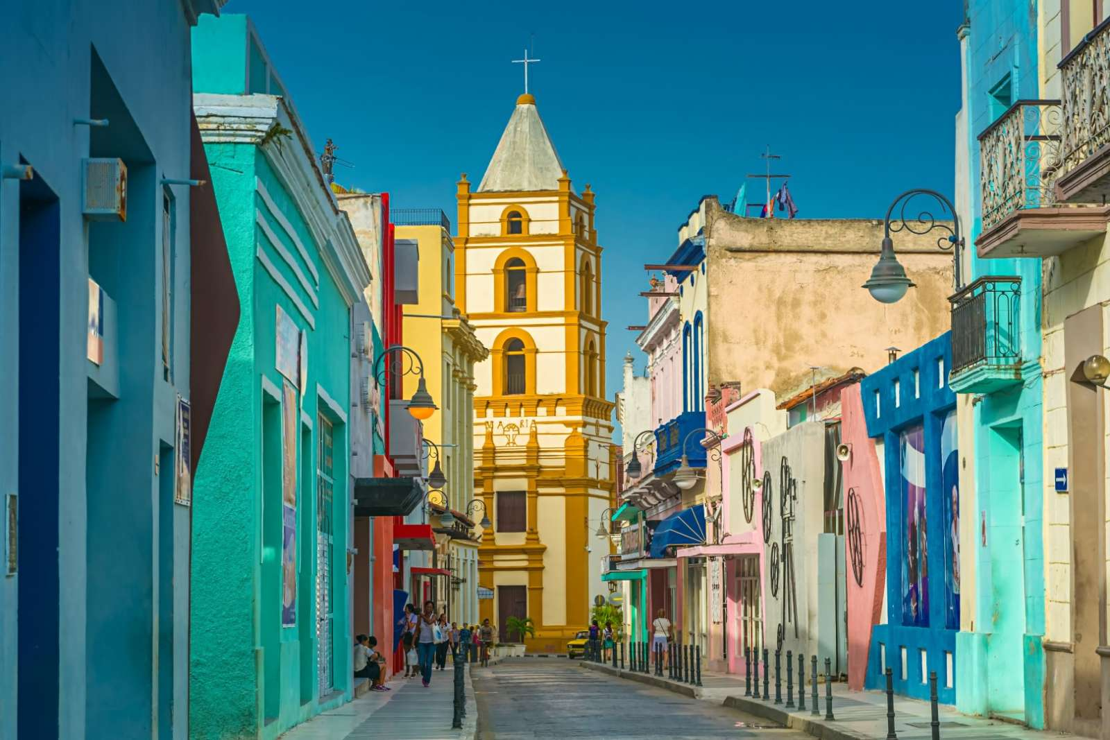 Colourful Ignacio Agramonte street in Camagüey, Cuba