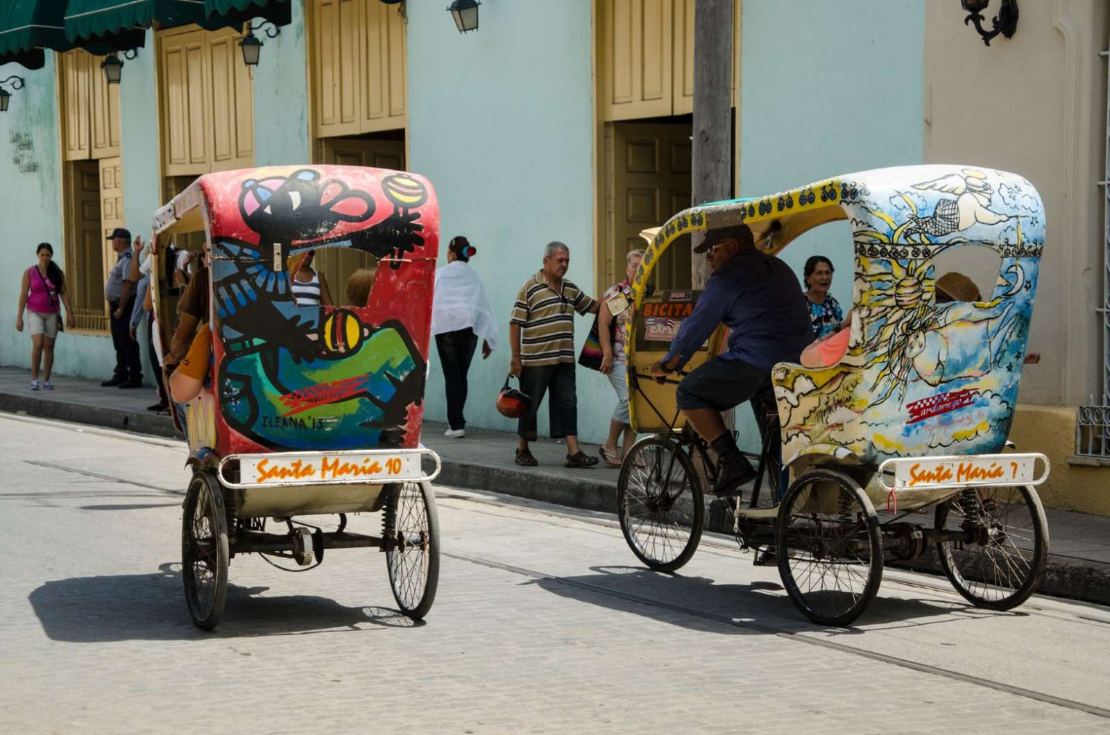 Rickshaws are popular with visitors to Camaguey in Cuba