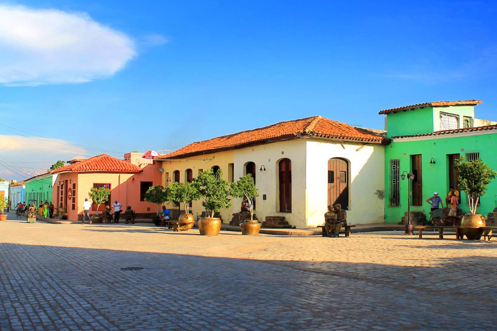 A colourful block of buildings in Camaguey, Cuba