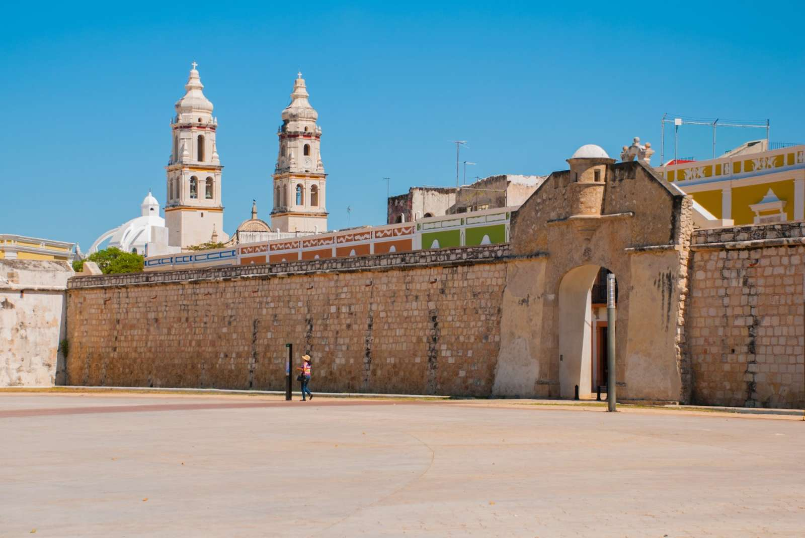 View of cathedral behind city wall in Campeche Mexico