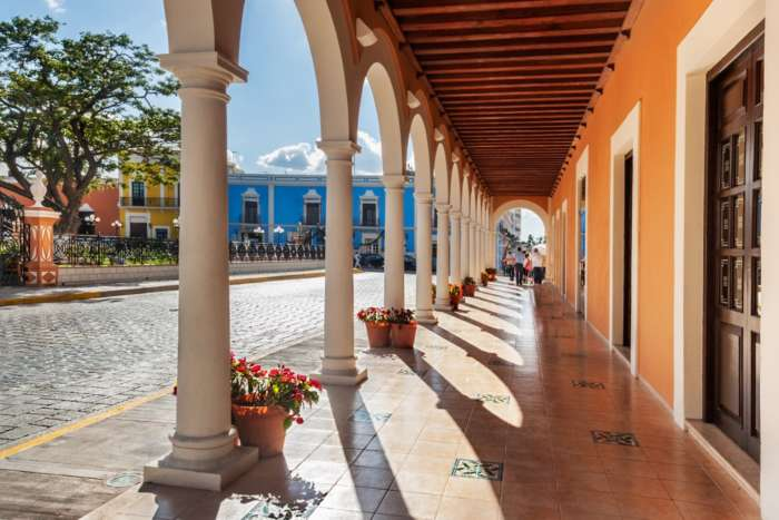 Colonade overlooking plaza in Campeche Mexico