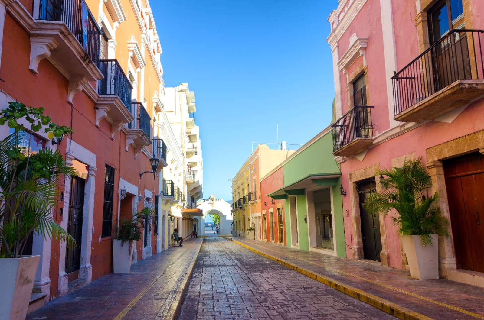 Colourful street in Campeche Mexico