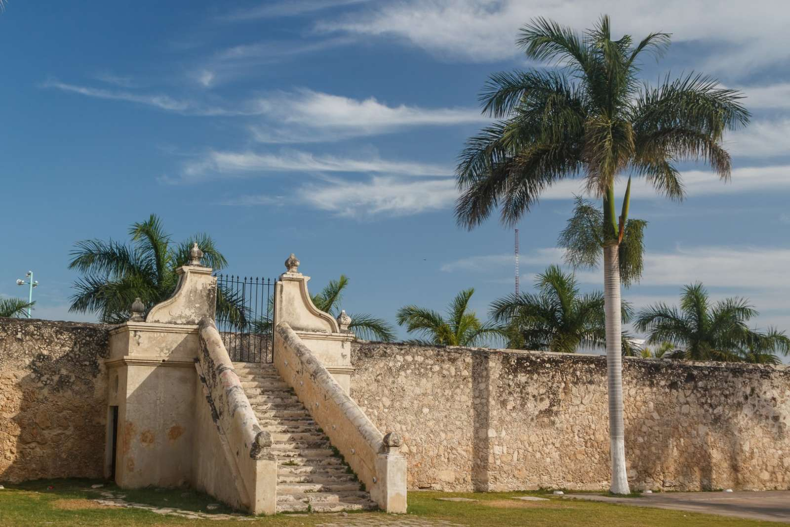 Steps leading up to old city wall in Campeche Mexico