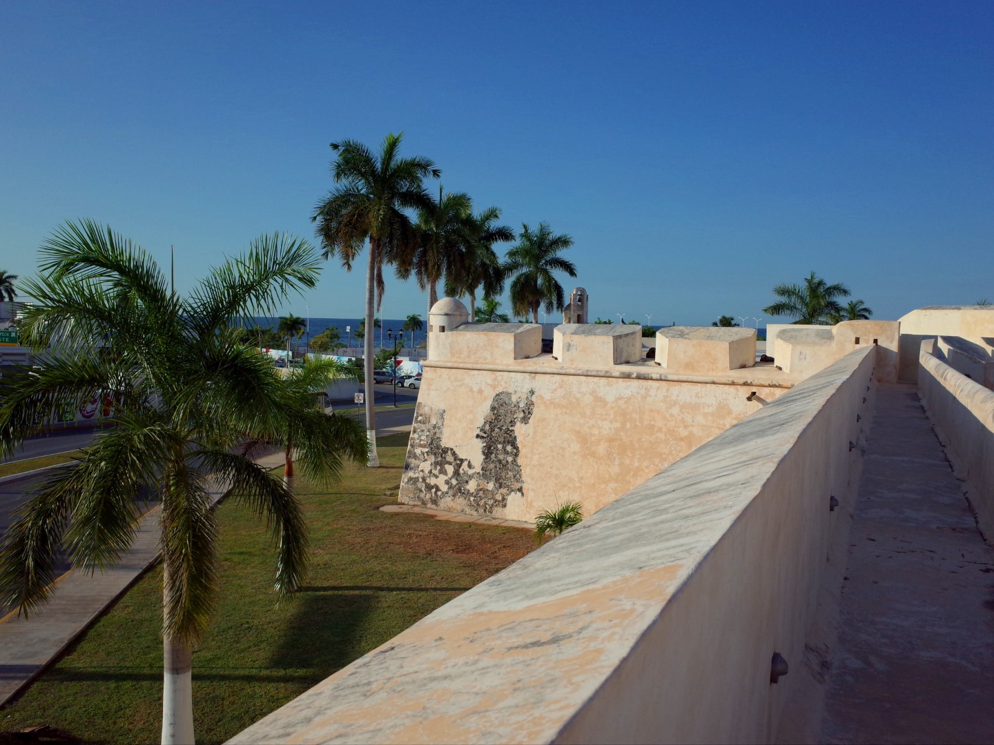 Old city wall in Campeche Mexico