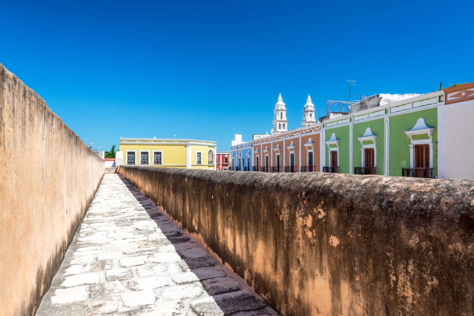 City wall and colourful buildings in Campeche Mexico