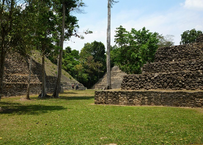 Amidst the ruins at Caracol, Belize
