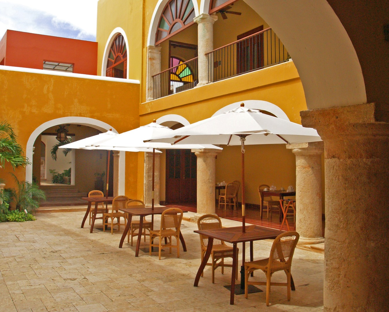Courtyard seating at Casa Don Gustavo in Campeche