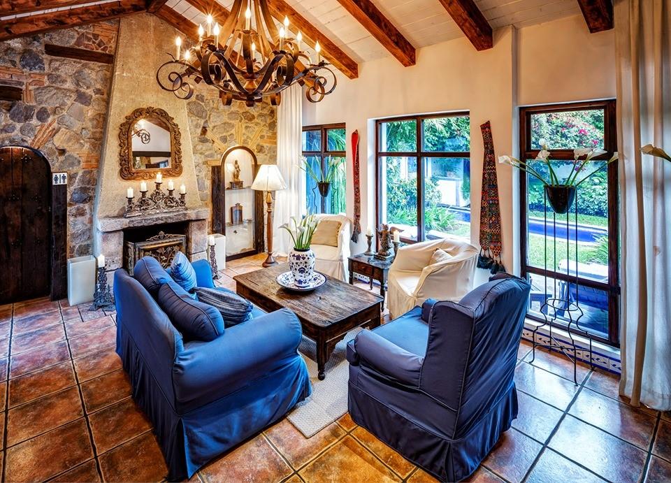 Lounge facing pool at Casa Encantada in Antigua