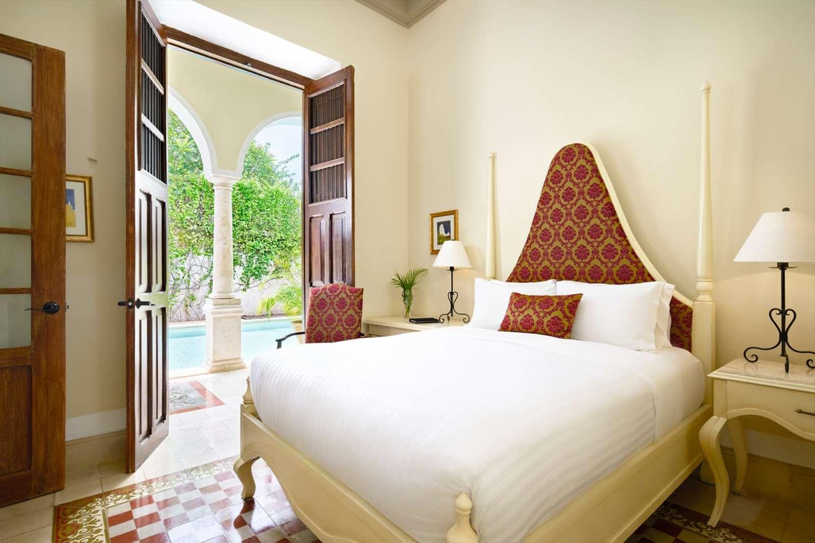 Double bed at Casa Lecanda in Merida