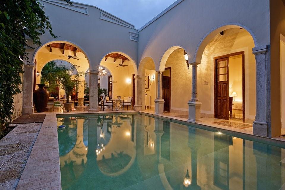 Pool at Casa Lecanda in Merida in the evening