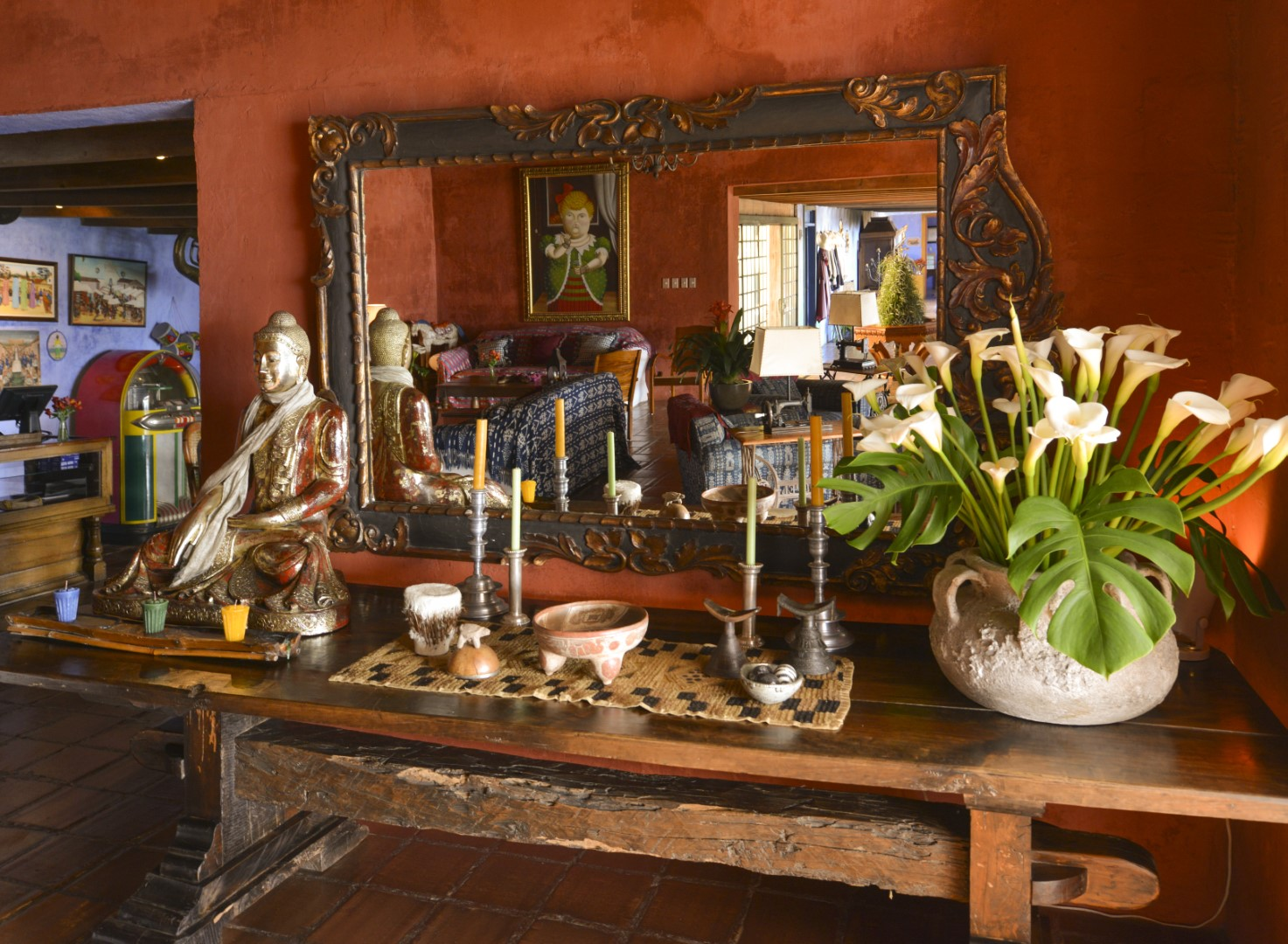 Artwork and mirror at Casa Palopo in Lake Atitlan