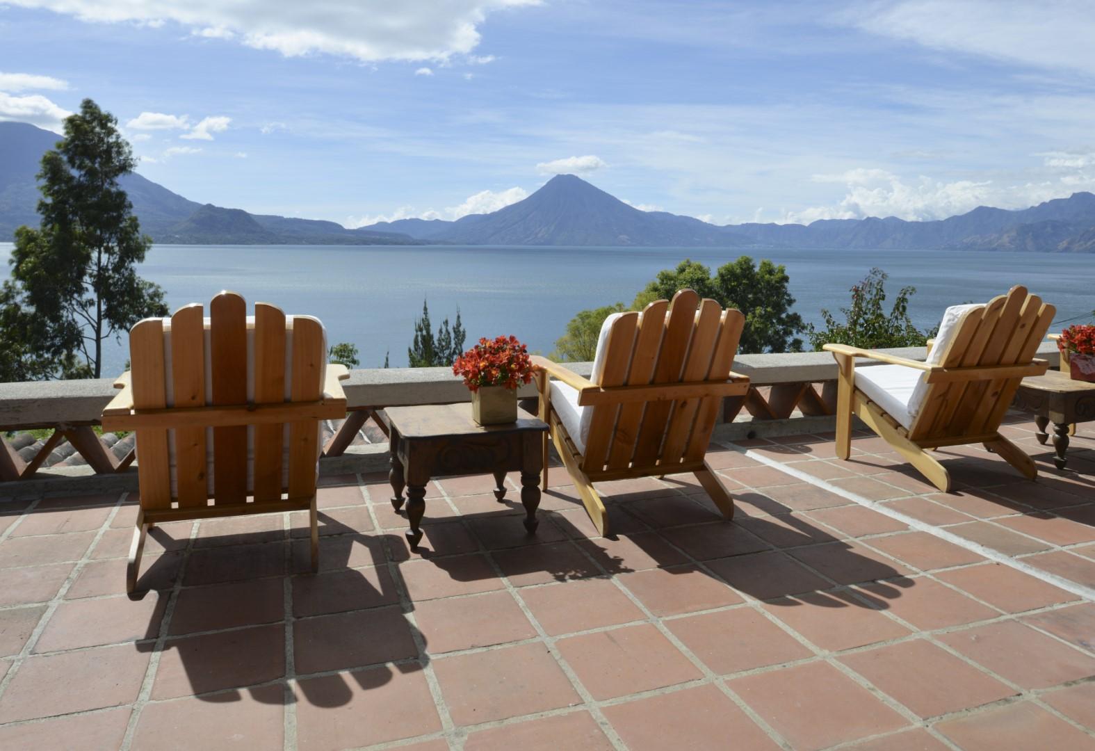Seating with lake view at Casa Palopo in Lake Atitlan