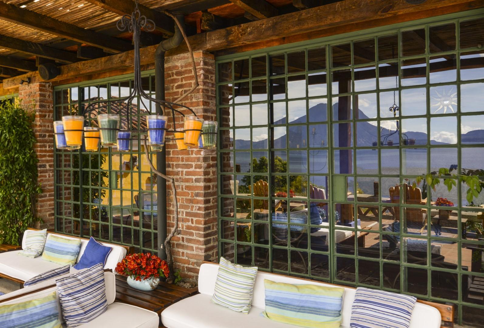 Reflection in window at Casa Palopo in Lake Atitlan
