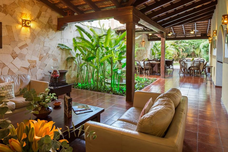 Seating area at hotel Casa del Balam in Merida