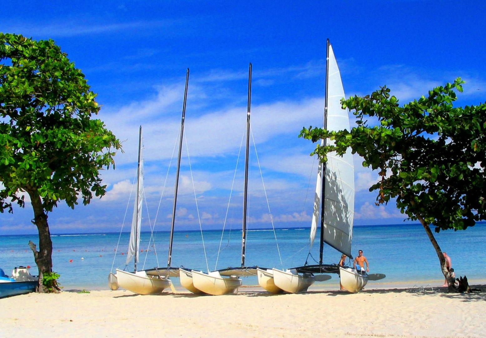 Catamarans on the beach at Cayo Levisa, Cuba