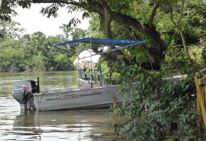Boat moored-up at Ceibal Guatemala