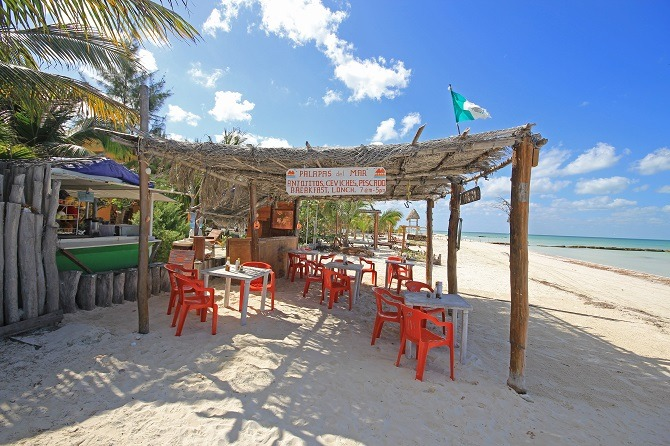 A restaurant on the beach at Holbox serving Ceviche Yucatan style