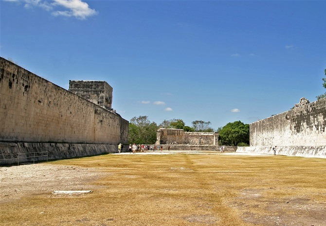 The ballcourt at the Mayan ruins of Chichen Itza