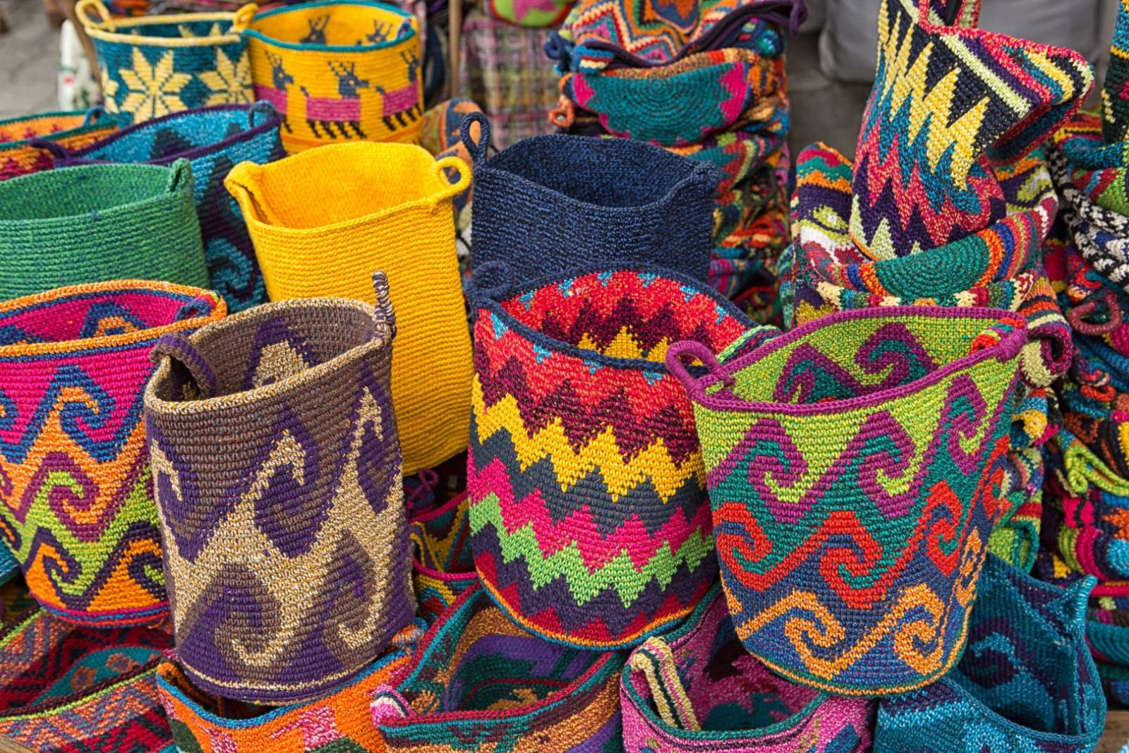 Colourful baskets for sale at the market in Chichicastenango, Guatemala