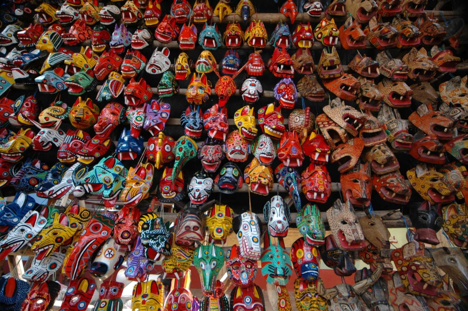 Traditional masks for sale in Chichicastenango, Guatemala