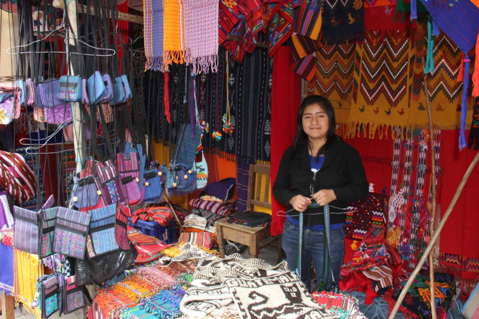 Woman in shop in Chichicastenango, Guatemala