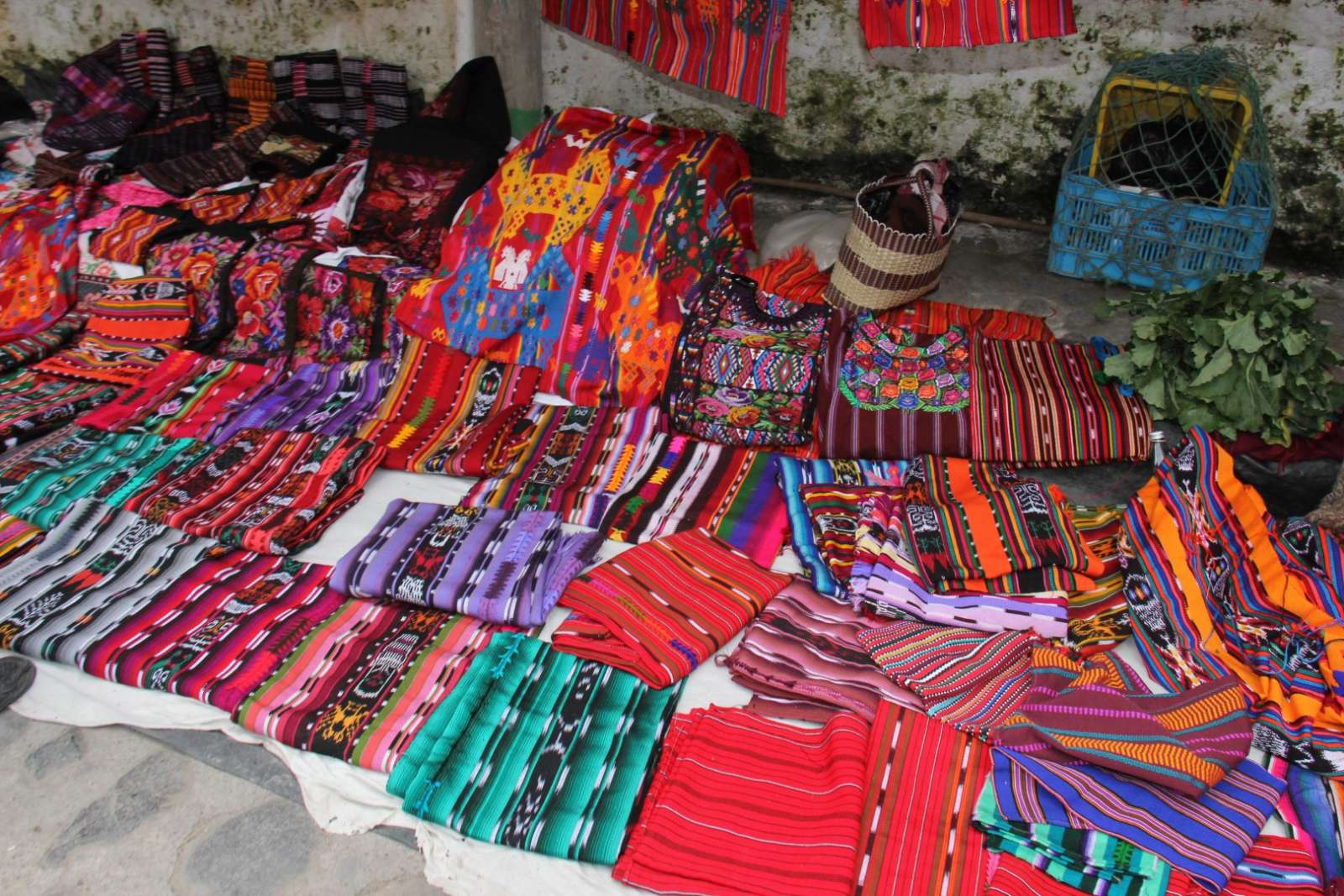 Floor stall at the market in Chichicastenango, Guatemala
